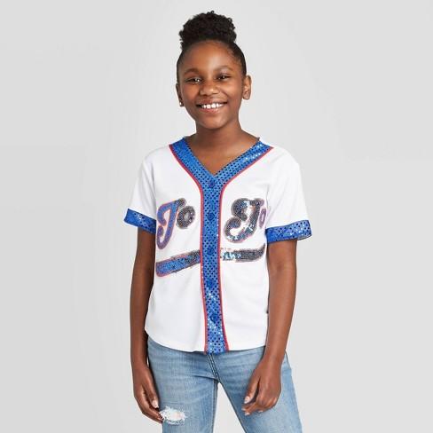 Girls' JoJo's Closet Baseball Jersey - White - image 1 of 3
