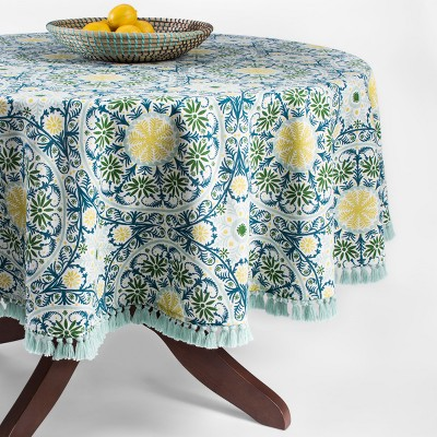 Green/Blue Medallion Fringed Tablecloth 70  Round - Opalhouse™