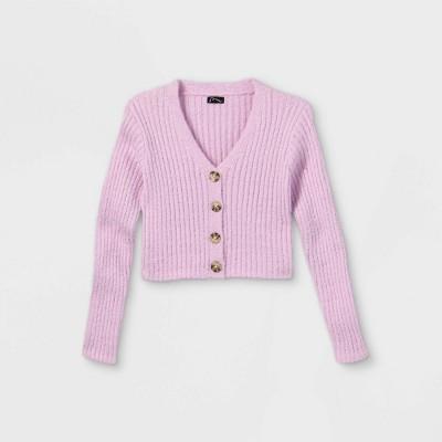 Girls' Fuzzy Button-Up Cardigan - art class™