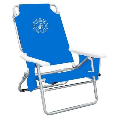 Caribbean Joe Five Position Folding Beach Chair with Pocket Organizer - Blue