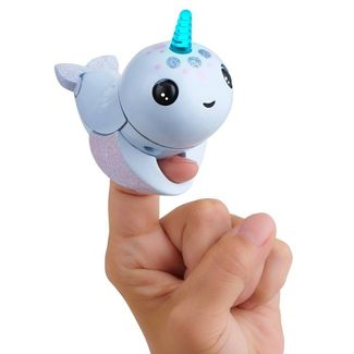 Fingerlings Light Up Narwhal - Nori (Blue) - Friendly Interactive Toy by WowWee