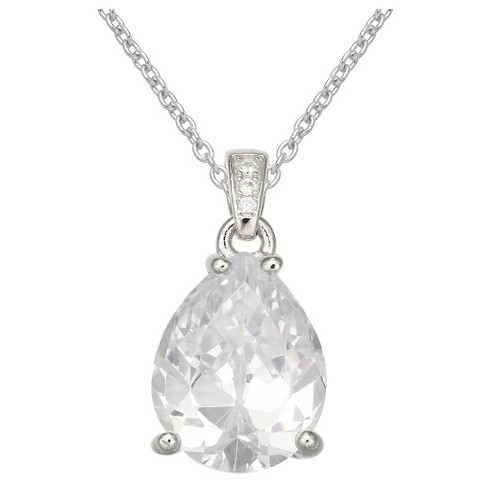 96af74915586d Women s Pear Shaped Cubic Zirconia Pendant On Sterling Silver Cable ...
