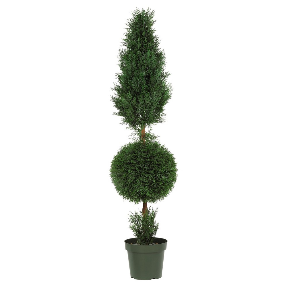 Artificial 5ft Cypress Ball And Cone Silk Tree Indoor Outdoor Nearly Natural
