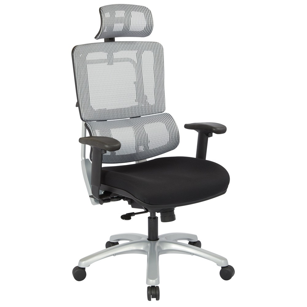 Vertical Mesh Back Chair With Base And Black Coal Free Flex Seat With Headrest Gray - Osp Home Furnishings