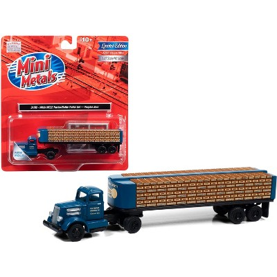 """White WC22 Truck Tractor with Bottle Trailer Dark Blue """"The Peoples Brewing Co."""" 1/87 (HO) Scale Model by Classic Metal Works"""