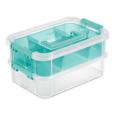 Sterilite Stack & Carry 2 Tray Handle Box Organizer