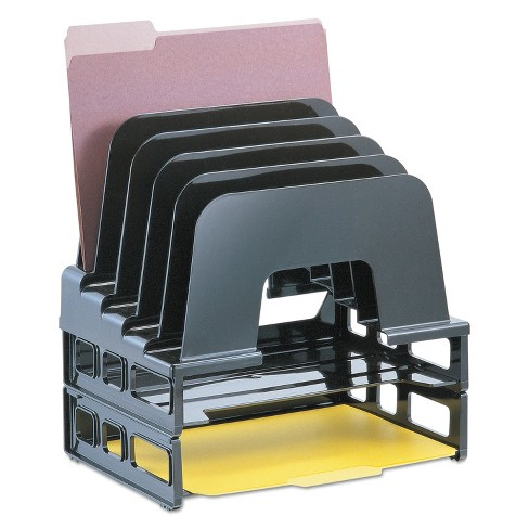 Officemate Incline Sorter 2 Trays 5-Compartments Plastic 9.12w x 13.5d x 14h Black 22112 - image 1 of 2