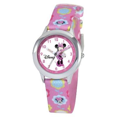 Girls' Disney Minnie Mouse Time Teacher Watch- Pink
