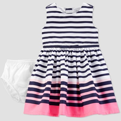 Baby Girls' Stripe Dress - Just One You® made by carter's Navy/Pink 3M