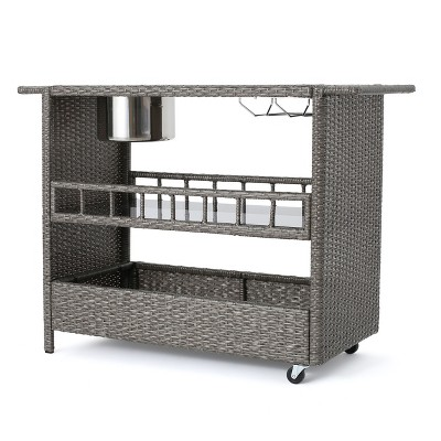 Puerta Wicker Barcart - Mixed Black- Christopher Knight Home