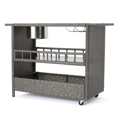 Puerta Wicker Barcart - Mixed Black- Christopher Knight Home - image 1 of 4