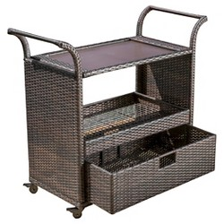 Corona Wicker Outdoor Serving Cart - Brown - Christopher Knight Home