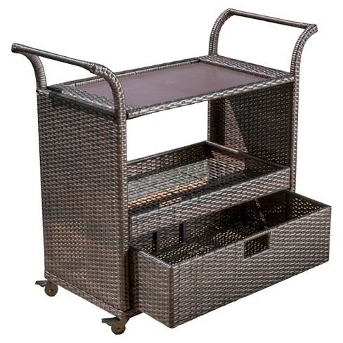Corona Wicker Outdoor Serving Cart Brown Christopher Knight Home