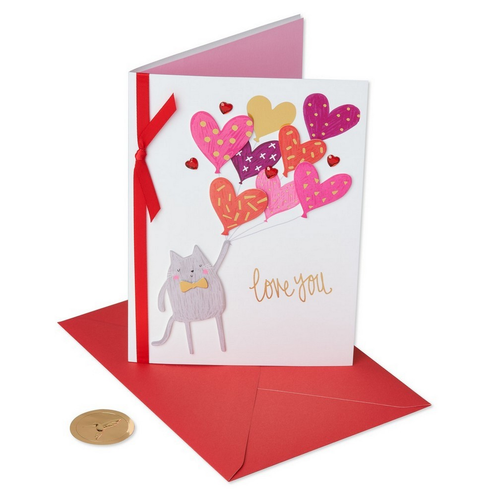 Critter With Heart Balloons Greeting Card - Papyrus, Multi-Colored