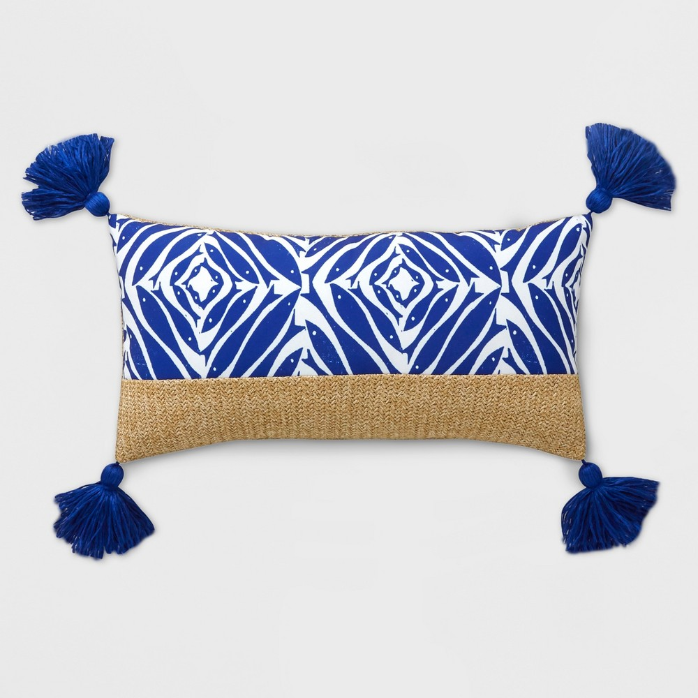 Geo Tassel Lumbar Outdoor Pillow Blue - Opalhouse