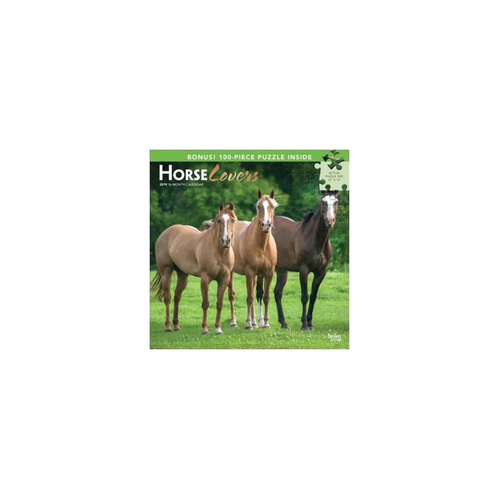 Horse Lovers 2019 Calendar + Puzzles - (Paperback)