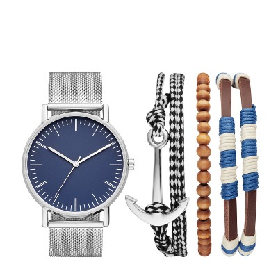 Men's Nautical Mesh Strap Watch Set - Goodfellow & Co™ Silver