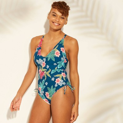 7bb617dd85a21 Women's Scoop Front Shirred One Piece Swimsuit - Sunn Lab Swim Blue Floral M