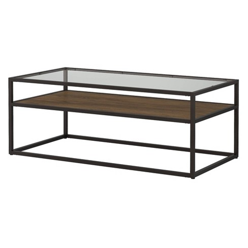 Anthropology Glass Top Coffee Table Brown Bush Furniture Target