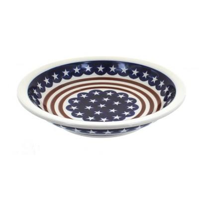 Blue Rose Polish Pottery Stars & Stripes Soup Plate