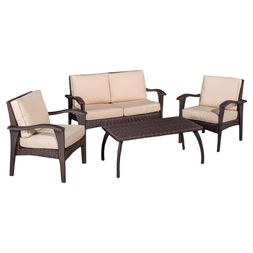 Honolulu 4pc Wicker Patio Seating Seat and Cushions - Bro...