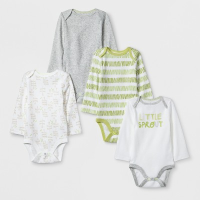 Baby's 4pk Long sleeve Bodysuit - Cloud Island™ White 0-3M