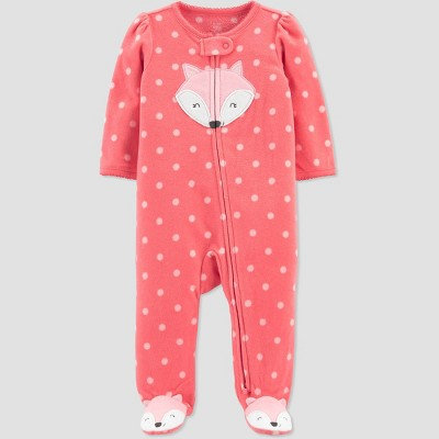 Baby Girls' Fox Fleece Footed Pajama - Just One You® made by carter's Coral Newborn
