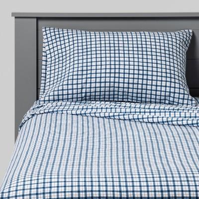 Gingham Flannel Sheet Set Navy - Pillowfort™
