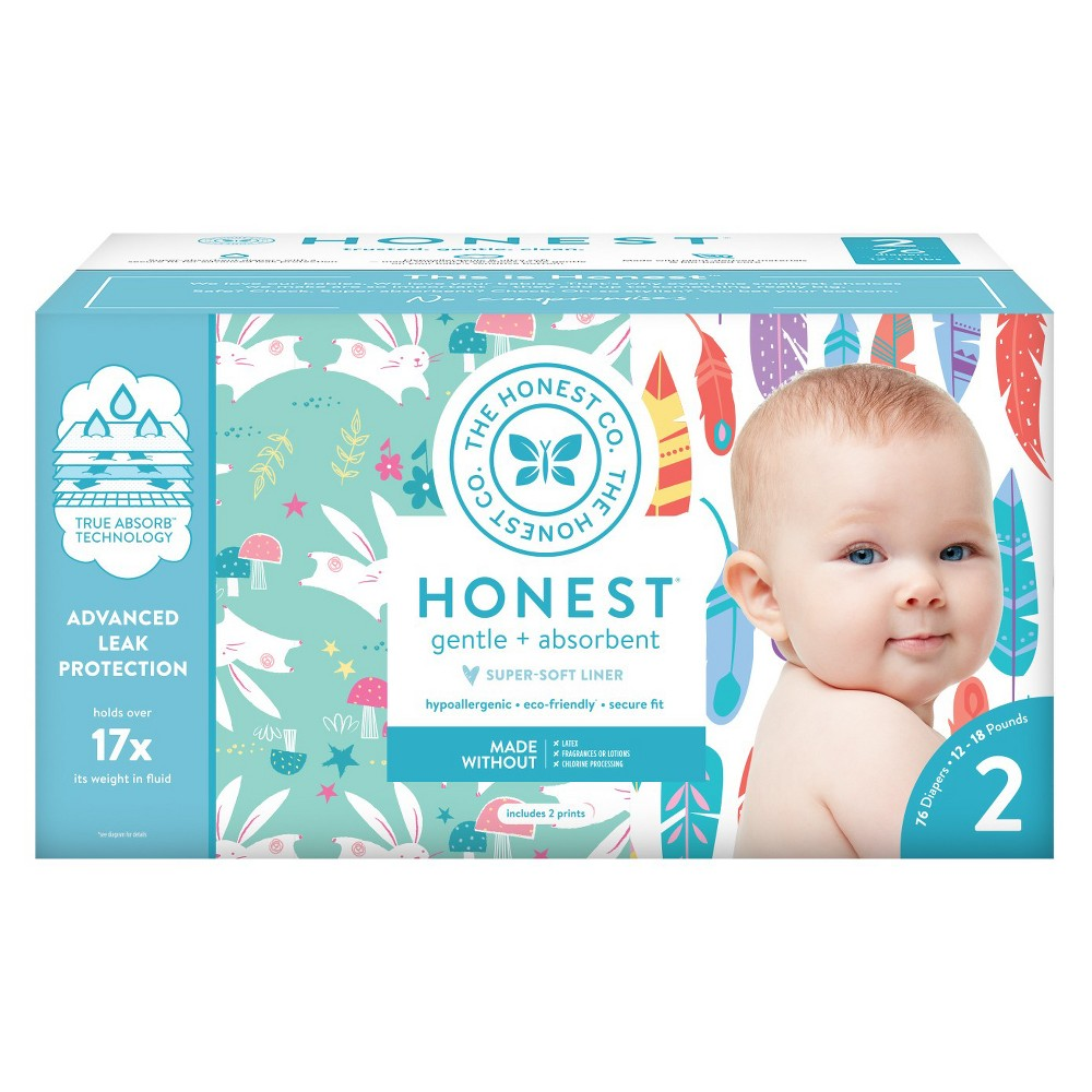 Honest Company Disposable Diapers Club Pack Painted Feathers & Bunnies - Size 2 (76ct), Feathers/Bunnies