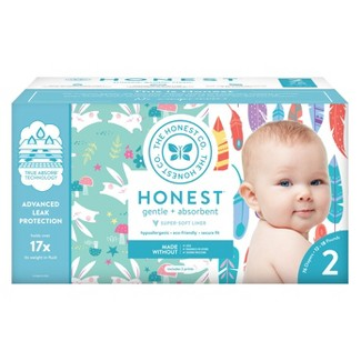 Honest Company Disposable Diapers Club Pack Painted Feathers & Bunnies - Size 2 (76ct)