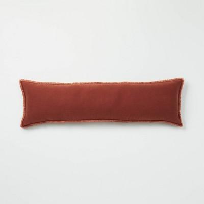 Lumbar Heavyweight Linen Blend Throw Pillow Dark Clay - Casaluna™