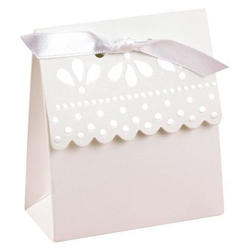 25ct Scalloped Wedding Favor Box  - White - image 1 of 2