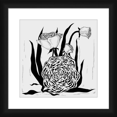 """18"""" x 18"""" Matted to 2"""" Flower Dream Picture Framed Black - PTM Images"""