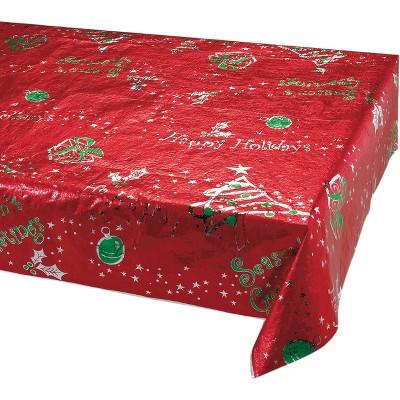 Metallic Printed Christmas Plastic Tablecloth Red