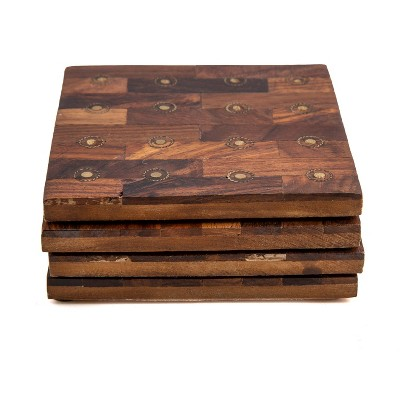 4pk Sheesham Wood with Brass Rivets Square Coasters - Thirstystone