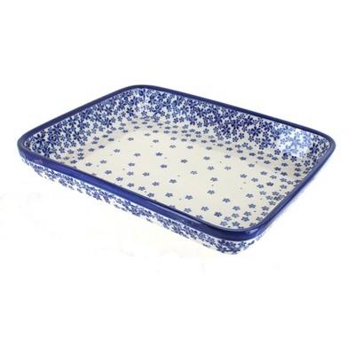 Blue Rose Polish Pottery Fleurette Large Rectangular Baker