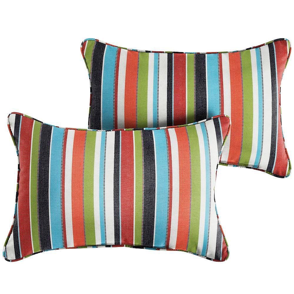 Sunbrella 2pk Lumbar Outdoor Throw Pillows Carousel Confetti