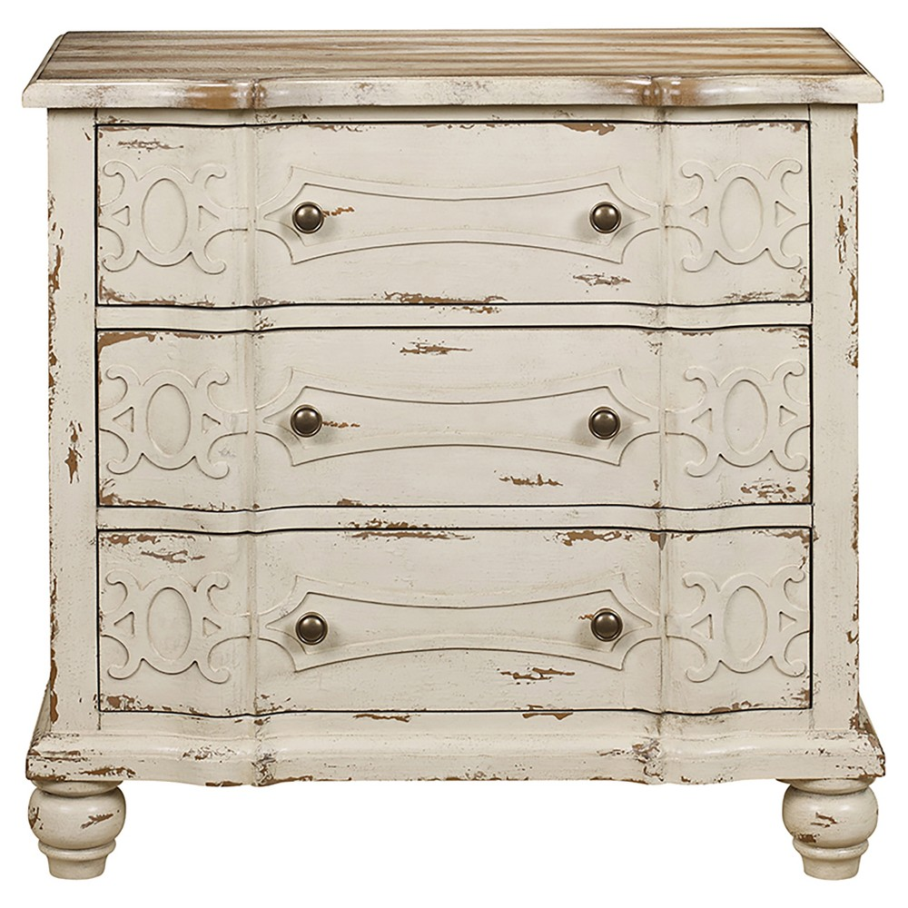 Columbus Accent Storage Console with Three Drawers Distressed White - Right2Home