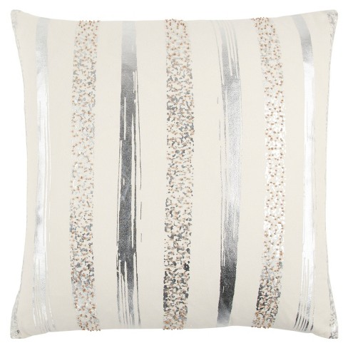 """20""""x20"""" Oversize Striped Square Throw Pillow - Rizzy Home - image 1 of 3"""