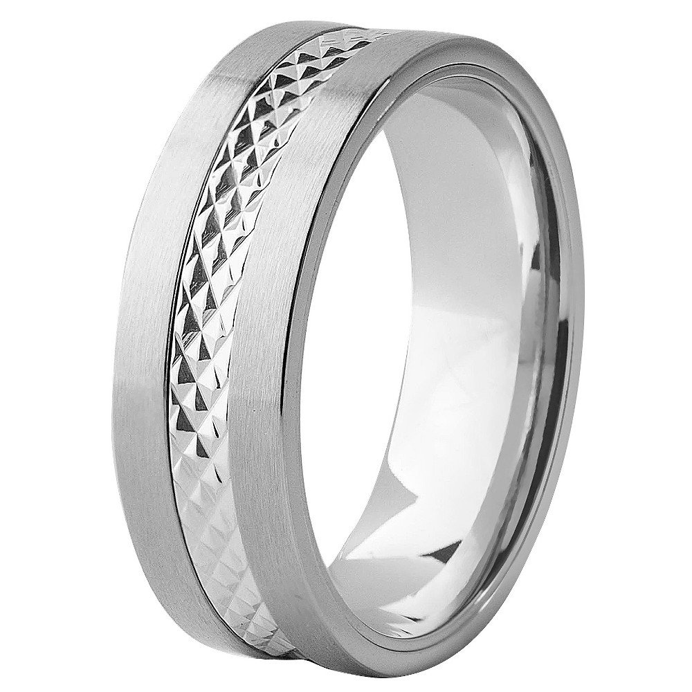 Men's West Coast Jewelry Stainless Steel Diamond-Cut Textured Band Ring (9), Silver