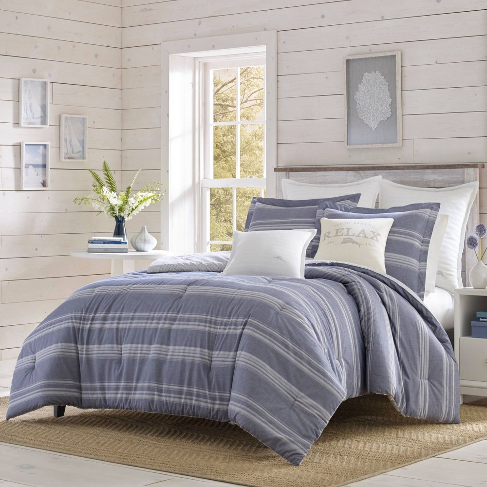 Image of Relax by Tommy Bahama Full/Queen Chambray Stripe Duvet Cover & Sham Set Navy