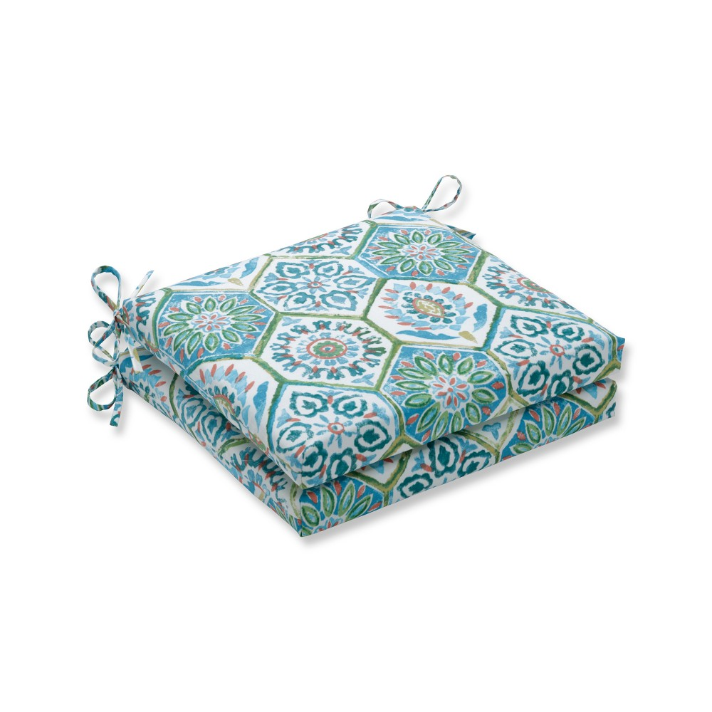 Summer Breeze Poolside 2pc Indoor/Outdoor Squared Corners Seat Cushion - Pillow Perfect, Blue