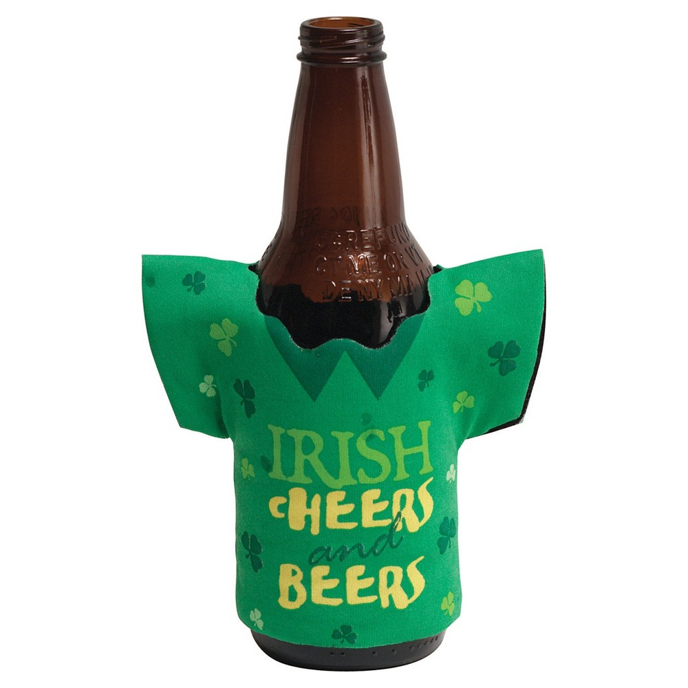 1ct Irish Cheers Drink Holder There is no better time of year to decorate your beer than St. Patrick's Day and there is no better decoration than the Irish Cheers Drink Holders! This fun drink holder features shamrocks and the message  Irish Cheers And Beers . Sold individually, don't get caught this St. Patrick's Day without the drink holder! Color: Multi-Colored. Age Group: Adult.