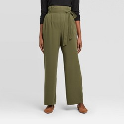 Women's High-Rise Ankle Length Paperbag Pants - A New Day™
