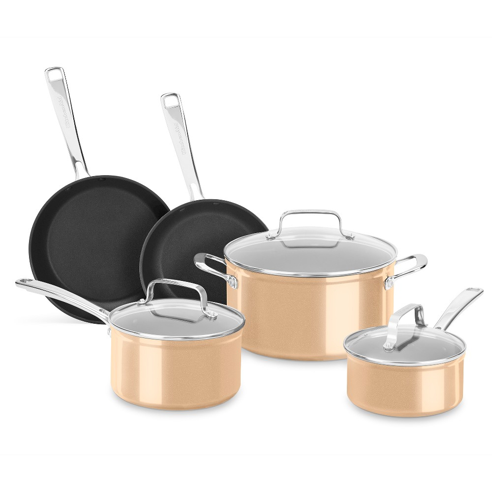 KitchenAid 8pc Hard Anodized Nonstick Cookware Set - KC3H1S08, Light Brown