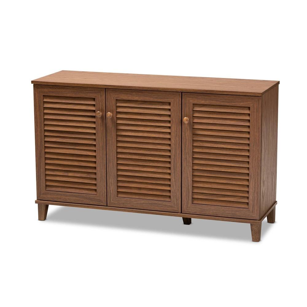 Shelf Wood Shoe Storage Cabinet Coolidge Walnut Finished Brown - Baxton Studio