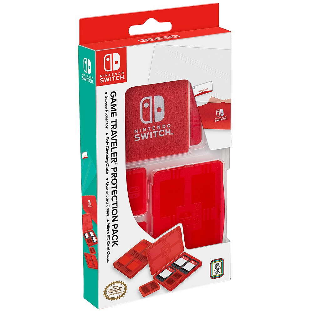 Nintendo Switch Game Traveler Protection Pack, Red Screen Protector: - Screen protector with soft card applicator Red Transparent Game Card Case - 2 pieces: - Each case holds 4 Nintendo Switch game cards - Micro SD card case fits in any section of game card case - Dust free protection Red Transparent Micro SD Card Case - 2 pieces: - Each case holds 2 Micro SD cards and fits in any section of game card case - Dust free protection Cleaning Cloth: - Soft material keeps screen clean Pattern: Solid.