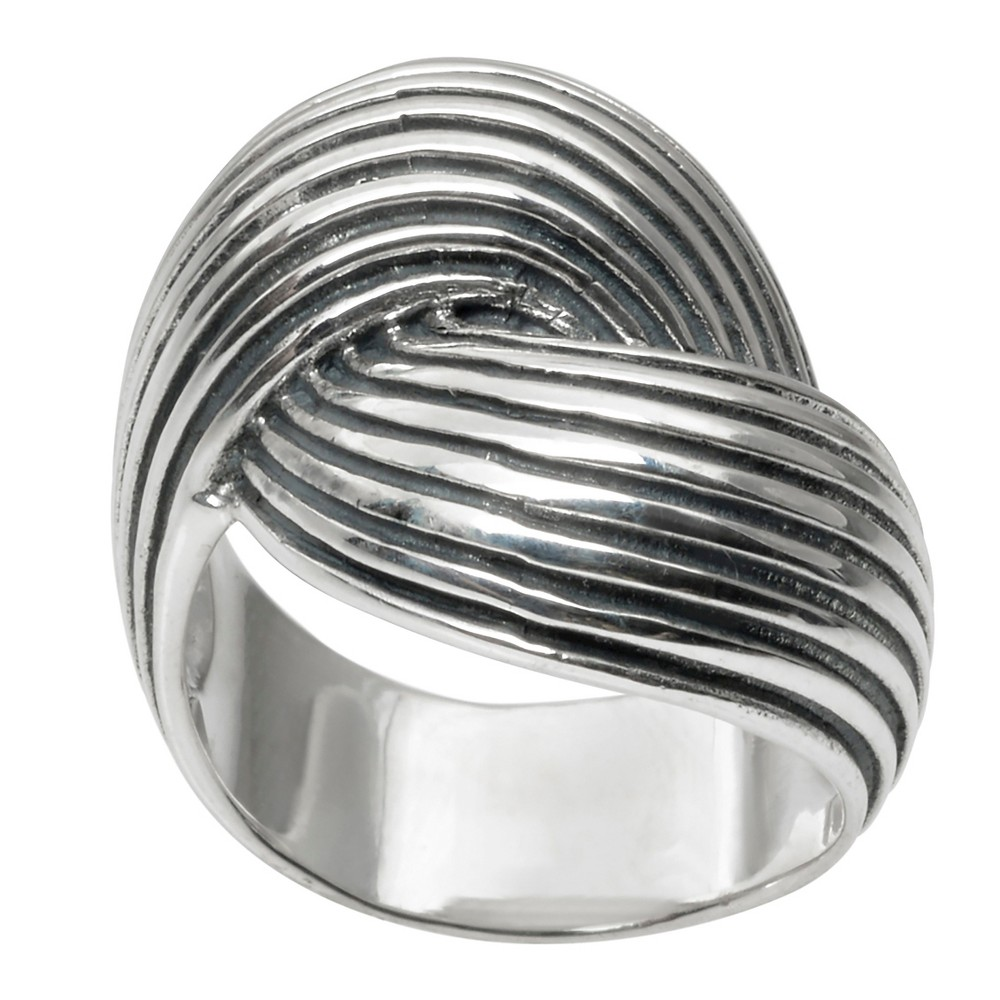 Women's Journee Collection Twist Statement Ring in Sterling Silver - Silver, 7