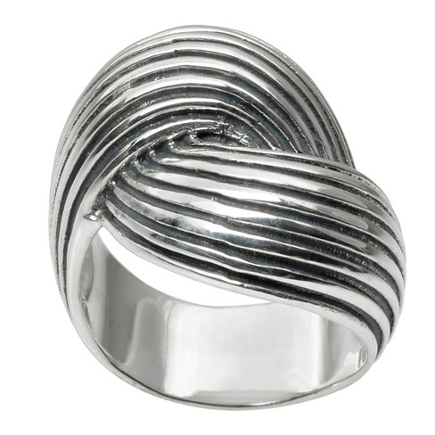 Women's Journee Collection Twist Statement Ring in Sterling Silver - Silver - image 1 of 2