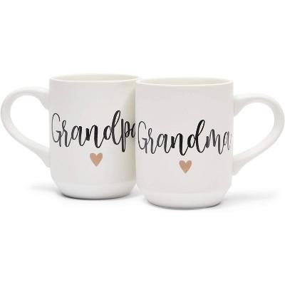 Sparkle and Bash 2-Pack White Ceramic Coffee Mugs Tea Cups, Grandpa & Grandma